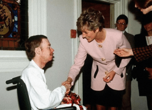 tebya: Princess Diana shaking the hand of an AIDS victim with no gloves on, a move that would work to reduce AIDS stigma and help prove that AIDS is not spread by skin to skin contact. 1991, Toronto, Canada.: tebya: Princess Diana shaking the hand of an AIDS victim with no gloves on, a move that would work to reduce AIDS stigma and help prove that AIDS is not spread by skin to skin contact. 1991, Toronto, Canada.