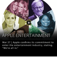 "Apple, Facebook, and Memes: TECH  APPLE ENTERTAINMENT  Mar 27 | Apple confirms its commitment to  enter the entertainment industry, stating,  ""We're all in."" Apple gave more details on its intent to position itself as a player in the emerging streaming content market, casting away some doubts over its commitment to the entertainment industry. In recent months, the company has outspent Facebook, YouTube, and, in some bidding wars, Netflix, which the largest player in the market. The company's budget for entertainment is expected to pass $1 billion this year. ___ ""We're all in,"" said Eddy Cue, a senior vice president in charge of entertainment. ""We're completely all in."" ___ Although Apple has produced some projects already at a quick pace, Cue said it will not follow the high-volume model that Netflix employs. Mr. Cue, who has been at Apple for nearly three decades, cited Pixar as a model when he was interviewed at South by Southwest. ___ ""We don't know anything about making television,"" Cue said at South by Southwest. ""So what skills does Apple bring to that? And the viewpoint is: very little. There's other things we bring. We know how to create apps, we know how to do distribution, we know how to market. But we don't really know how to create shows."" ___ Photo: Jessica Kourkounis 