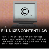 "Facebook, Google, and Internet: TECH  E.U. NIXES CONTENT LAW  July 5 The European Parliament votes  against controversial set of copyright laws  that would require online platforms to pay  and censor shared content The European Parliament voted against a controversial set of copyright laws that digital rights campaigners said could change the way content is shared online. One rule that was voted against, known as Article 13, would have required online platforms like Google and Facebook to filter out content that infringed on copyright laws. The proposed law sparked debate over how music, images, and videos would be shared over the internet. Executive director of the London-based digital rights organization Open-rights Group, Jim Killock said: - ""Round one of the Robo-Copyright wars is over. The E.U. Parliament has recognized that machine censorship of copyright material is not an easy and simple fix."" ___ Many digital rights activists worried the legislation could affect meme culture, as memes traditionally re-purpose images or video clips. ___ Another element of the proposed set of rules, known as Article 11, would require online platforms to pay publishers for news video clips. ___ The copyright directives were initially approved by the European Parliament Committee on Legal Affairs last month, but aggressive protests by digital rights activists allowed for a secondary vote in the E.U. Parliament chamber. The laws will be reworked and voted on again in September."