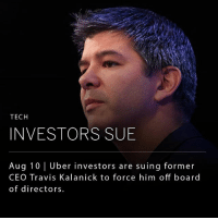 "Memes, Uber, and Control: TECH  INVESTORS SUB  Aug 10 Uber investors are suing former  CEO Travis Kalanick to force him off board  of directors Uber investor Benchmark Capital is suing former CEO Travis Kalanick for fraud. The firm claims Kalanick has schemed to maintain control in the company after his departure. Kalanick created a contract in 2016 that gave him the right to select 3 board members. Following his departure from Uber, Kalanick selected himself to fill one of the seats. __ Benchmark claims that concealing the clause was fraudulent. Uber wrote in a statement that the lawsuit is ""without merit and riddled with lies."""