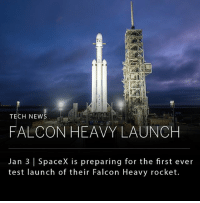 """TECH NEW  RE  FALCON HEAVY LAUNCH  Jan 3 