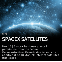 "Elon Musk's aerospace manufacturer, SpaceX, was granted permission from the Federal Communications Commission (FCC) to launch 7,518 Starlink internet satellites into space. The Starlink internet satellites will contribute to SpaceX's plan to create a network of nearly 12,000 satellites surrounding the Earth, providing internet access to developing countries and rural areas with limited connectivity. Musk's company already has 4,409 approved Starlink satellites. ___ SpaceX says the network could take more than six years to complete. Some critics worry the project will contribute to space debris. ___ Ajit Pai, the FCC Chairman, said the project will serve the public interest ""across many areas of our economy, including the automotive, aviation, rail, maritime and agriculture industries."" ___ Photo: Tech Crunch: TECH  SPACEX SATELLITES  Nov 15 