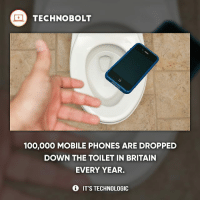 Anaconda, Apple, and Dell: TECHNO BOLT  100,000 MOBILE PHONES ARE DROPPED  DOWN THE TOILET IN BRITAIN  EVERY YEAR.  IT'S TECHNOLOGIC Like if this happened to you before! - fact technobolt technology tech apple iphone ipod ipad samsung s7 hp dell acer lenovo asus cool innovation inspirational microsoft windows mac osx awesome wow damn nice amazing oneplus smartphone phone