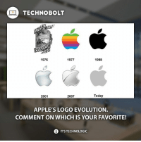 🚨 Apple Fans! Follow @BiggestAppleFan for daily Apple lifestyle reposts and more! 🚨 @BiggestAppleFan @BiggestAppleFan @BiggestAppleFan - fact technobolt technology tech apple iphone ipod ipad stevejobs samsung s7 htc nokia microsoft sony lg motorola oneplus cool awesome logo wow amazing hot nice: TECHNO BOLT  1976  1977  1998  Today  2001  2007  APPLE'S LOGO EVOLUTION.  COMMENT ON WHICH IS YOUR FAVORITE!  i ITSTECHNOLOGIC 🚨 Apple Fans! Follow @BiggestAppleFan for daily Apple lifestyle reposts and more! 🚨 @BiggestAppleFan @BiggestAppleFan @BiggestAppleFan - fact technobolt technology tech apple iphone ipod ipad stevejobs samsung s7 htc nokia microsoft sony lg motorola oneplus cool awesome logo wow amazing hot nice