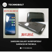 Apple, Facts, and Ipad: TECHNOBOLT  真机开机测试数据可靠  圖圖  真机测试  SAMSUNG GALAXY S8 REPORTEDLY  SURFACES IN THE WILD.  0 IT'S TECHNOLOGIC Anyone interested? Tag your friends! - fact technobolt tech samsung 8 sexy cool apple iphone ipod ipad amazing nice smartphone