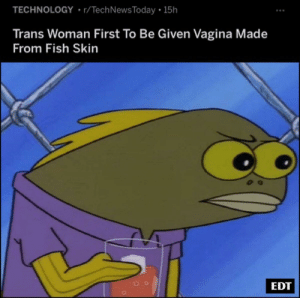 Fish, Live, and Technology: TECHNOLOGY r/TechNews Today 15h  Trans Woman First To Be Given Vagina Made  From Fish Skin  EDT We live in society.