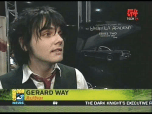 News, Academy, and Gerard Way: TECHTV  MBRELLA ACADEMY  SERIES TWO  CON  GERARD WAY  Author  NEWS  THE DARK KNIGHTS EXECUTIVE