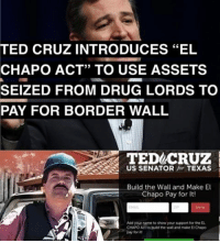 "El Chapo, Memes, and Money: TED CRUZ INTRODUCES ""EL  CHAPO ACT"" TO USE ASSETS  SEIZED FROM DRUG LORDS TO  PAY FOR BORDER WALL  TED CRUZ  US SENATOR  for TEXAS  Build the Wall and Make El  Chapo Pay for It!  Add yourname to show your support for EL  pay for BEST. BILL. EVER. American prosecutors are seeking $14 billion in drug profits and other assets from El Chapo. Cruz wants this money to go towards BUILDING THE WALL. The bill itself is named EL CHAPO, which stands for ""Ensuring Lawful Collection of Hidden Assets to Provide Order."""