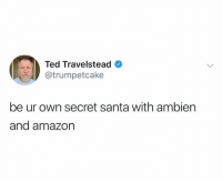 Amazon, Ted, and Santa: Ted Travelstead  @trumpetcake  be ur own secret santa with ambiern  and amazon