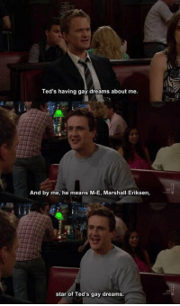 Memes, 🤖, and Himym: Ted's having gay dreams about me.  And by me, he means M-E, Marshall Eriksen,  star of Ted's gay dreams. This was so funny. HIMYM