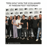 Cute, Love, and Memes: TEEN WOLF WON THE ICON AWARD  AT FANDOM FEST YESTERDAY  FANDOM  FANDOM  FEST  » FEST  FES  認ー  FANDOM  Li   FESTA  FANDOM  FEST  FANDOM  FANDOM  » FEST  IFEST  FEST e  DOM  ST  >> FEST<-  沙FE  EA  VI  IG: @TEENWOLFIGOFFICIAL like if you're proud of them 😱 @dylanobrienigofficial was there too he's sooooo cute i love them 😍🔥