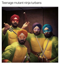 Funny, Turban, and Ninjas: Teenage mutant ninja turbans Michaelpreet, Leonardowinder, Donatellojeet and Raphaeldeep | More 👉 @miinute
