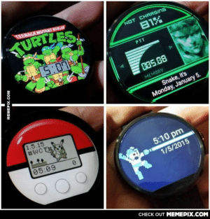 The Gamer in me is geeking out over this watchomg-humor.tumblr.com: TEENAGE MUTANT NINJA  TURTLES.  NOT CHARGING  81X  15:07  PTT  035.88  MEMORY  Snake, it's  Monday, January 5.  1.5.15  05:09  5:10 pm  1/5/2015  CHECK OUT MEMEPIX.COM  MEMEPIX.COM The Gamer in me is geeking out over this watchomg-humor.tumblr.com