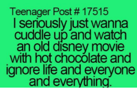 Disney, Memes, and Chocolate: Teenager Post 17515  I seriously just wanna  cuddle up and watch  an old disney movie  with hot chocOlate and  ignore life and everyone  and everything