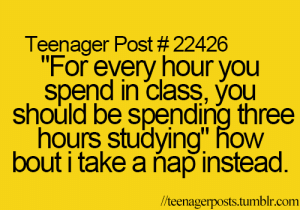 "I Take A Nap: Teenager Post # 22426  ""For every hour you  spend in class, you  should be spending three  hours studying"" Kow  bout i take a nap instead.  /teenagerposts.tumblr.com"