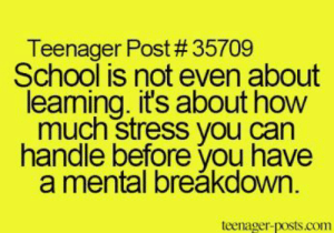 School, Tumblr, and Http: Teenager Post # 35709  School is not even about  leaming. it's about how  much stress you can  handle before you have  a mental breăkdown  teenager-posts.com If you are a student Follow @studentlifeproblems​