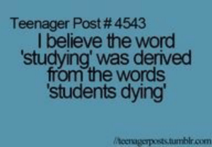 Tumblr, Blog, and Http: Teenager Post # 4543  I believe the word  studying' was derived  from the words  students dying  r.com studentlifeproblems:  If you are a student Follow @studentlifeproblems​
