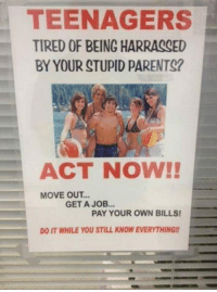 """Meme, Parents, and Tumblr: TEENAGERS  TIRED OF BEING HARRASSED  BY YOUR STUPID PARENTS?  ACT NOW!!  MOVE OUT...  GET A JOB...  PAY YOUR OWN BILLS  DO IT WHILE YOU STILL KNOW EVERYTHING! <p>Act Now.<br/><a href=""""http://daily-meme.tumblr.com""""><span style=""""color: #0000cd;""""><a href=""""http://daily-meme.tumblr.com/"""">http://daily-meme.tumblr.com/</a></span></a></p>"""