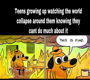 Yeah, that's cool: Teens growing up watching the world  collapse around them knowing they  cant do much about it  THIS IS FINe Yeah, that's cool