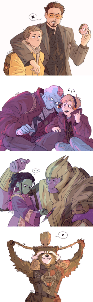 Love, Moms, and Target: teensuperbabes:  mangomango-j:Hey! Do you guys remember the voltron moms post? So, I decided to make the similar fanarts but with the marvel dads this time, cause they really deserve it, don't they? (not you, Thanos (I just really wanted to draw little Gamora))  we mcfucking love dads and their kidss
