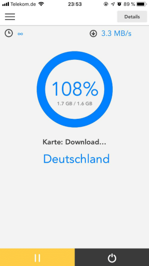 Wanted, Data, and Map: . Telekom.de  @ O 89 %  23:53  Details  3.3 MB/s  108%  1.7 GB 1.6 GB  Karte: Download..  Deutschland So my GF wanted to update some map data