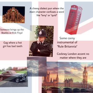 """American movie that takes place in England starterpack: TELEPHONE  A cheesy dialect pun where the  TELEPHONE  main character confuses a word  like """"lorry"""" or """"quid""""  Someone brings up the  Beatles or Pink Floyd  Some corny  instrumental of  Gag where a hot  girl has bad teeth  """"Rule Britannia""""  Cockney London accent no  matter where they are  33 UIR  T  HARROD American movie that takes place in England starterpack"""