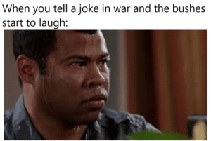it did be like that in the Vietnam war: tell a joke in war and the bushes  When  you  start to laugh: it did be like that in the Vietnam war