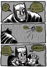 Funny, Comic, and Five: TELL  EEWw  SURE  YOU  BLeeD?  FIVE  DAYS A  MONTH  GROSSI Tell me, do you bleed? [Comic by Cantinho do Caio]