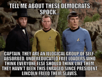 Meme, Free, and Lincoln: TELL ME ABOUT THESE DEMOCRATS  SPOCIK  BE  CAPTAIN, THEY ARE AN ILLOGICAL GROUP OF SELF-  ABSORBED, UNDEREDUCATED FREE LOADERS WHO  THINK EVERYONE ELSE SHOULD THINK LIKE THEM  THEV HAVN'T BEEN THIS ENRAGED SINCE PRESIDENT  LINCOLN FREED THEIR SLAVES.  DOWNLOAD MEME GENERATOR FROM H T,pǐnEnt CRUNCH COM I don't even know where to start...