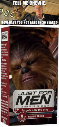 Funny, Target, and Browns: TELL ME CHEWIE.  HOW HAVE YOU NOT AGED IN 30 YEARS?  made on  inngur   MEM  JUST FOR  S HAM P 0 0 IN HAIR COLOR  Targets only the gray  5 MEDIUM BROWN Just For Wookies