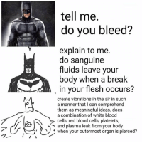 Bloods, Memes, and Vibrator: tell me.  do you bleed?  explain to me.  do sanguine  B, fluids leave your  body when a break  in your flesh occurs?  create vibrations in the air in such  a manner that I can comprehend  them as meaningful ideas. does  a combination of white blood  cells, red blood cells, platelets,  and plasma leak from your body  when your outermost organ is pierced?