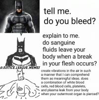 Christmas, Memes, and Break: tell me.  do you bleed?  explain to me.  do sanguine  fluids leave your  body when a break  in your flesh occurs?  OJUSTICE. LEAGUE MEMES  create vibrations in the air in such  a manner that I can comprehend  them as meaningful ideas. does  a combination of white blood  cells, red blood cells, platelets  and plasma leak from your body  S when your outermost organ is pierced? Merry Christmas -Nightwing
