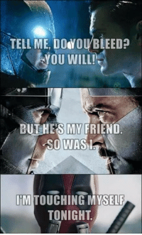Go give Trending Memes a like: TELL ME, DO YOU BLEED  YOU WILL!  BUT HES MY  FRIEND  SO WAS  I  A  IM TOUCHING MYSELF  TONIGHT Go give Trending Memes a like