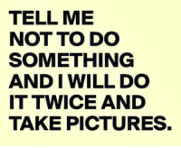 Memes, Pictures, and 🤖: TELL ME  NOT TO DO  SOMETHING  AND I WILL DO  IT TWICE AND  TAKE PICTURES.