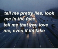 Tell me pretty lies: tell me pretty lies, look  me in the face  tell me that you love  me, even if.its fake Tell me pretty lies
