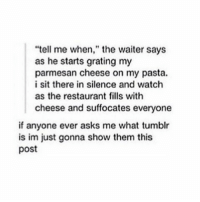 """Memes, Entitled, and 🤖: """"tell me when,"""" the waiter says  as he starts grating my  parmesan cheese on my pasta.  i sit there in silence and watch  as the restaurant fills with  cheese and suffocates everyone  if anyone ever asks me what tumblr  is im just gonna show them this  post people that think theyre entitled to my time make me laugh"""