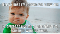 """Advice, Tumblr, and Animal: TELL MV BOSS I'M LOOKING FOR A NEW JOB  HE OFFERS TO GIVE  ME A RAISE FOR ME TO  CONTINUE WORKING THERE  mematic.net <p><a href=""""http://advice-animal.tumblr.com/post/175362353056/i-didnt-think-i-was-actually-going-to-tell-him"""" class=""""tumblr_blog"""">advice-animal</a>:</p>  <blockquote><p>I didn't think i was actually going to tell him but it worked out!</p></blockquote>"""