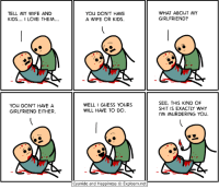 I Love: TELL MY WIFE AND  KIDS  I LOVE THEM  YOU DON'T HAVE A  GIRLFRIEND EITHER.  YOU DON'T HAVE  A WIFE OR KIDS.  WELL I GUESS YOURS  WILL HAVE TO DO  Cyanide and Happiness O Explosm.net  WHAT ABOUT MY  GIRLFRIEND?  SEE, THIS KIND OF  SHIT IS EXACTLY WHY  MURDERING YOU.