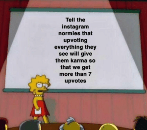 1000 IQ: Tell the  instagram  normies that  upvoting  everything they  see will give  them karma so  that we get  more than 7  upvotes 1000 IQ