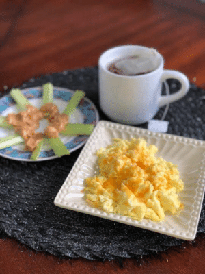 Memes, Breakfast, and Keto: Tell us what you are for breakfast!  We need low carb ideas!  My keto breakfast 🍳: . Organic scrambled eggs 🥚 with cheddar cheese sprinkled on top Organic celery sticks with natural peanut butter Hot 🍵 green tea  #KetoMealIdeas