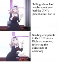 Weebs: Telling a bunch of  weebs about how  bad the U.N.'s  potential loli ban is.  Sending complaints  to the UN Human  Rights commitee,  following the  guidelines at  ohchr.org