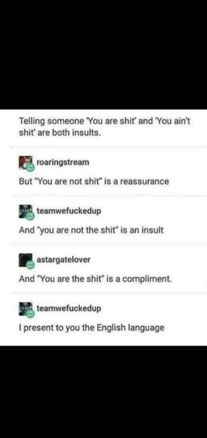 "English: Telling someone You are shit and You ain't  shit' are both insults.  roaringstream  But ""You are not shit"" is a reassurance  teamwefuckedup  And ""you are not the shit"" is an insult  astargatelover  And ""You are the shit"" is a compliment.  teamwefuckedup  I present to you the English language English"