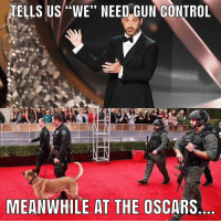 "Guns, Life, and Logic: TELLS US ""WE"" NEED GUN GONTROL  MEANWHILE AT THE OSCARS I'm just gonna leave this one here.......Hollywood logic in 2018😳🤔 truth oscars gun guns life real"
