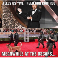 "the oscars: TELLS US""WE"" NEED GUN CONTROL  MEANWHILE AT THE OSCARS"