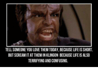 Life, Love, and Memes: TELLSOMEONE YOU LOVE THEM TODAY,BECAUSE LIFE IS SHORT.  BUTSCREAMITAT THEM IN KLINGON BECAUSE LIFE IS ALSO  TERRIFYING AND CONFUSING.