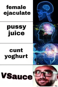 Juice, Memes, and Pussy: Temale  ejaculate  pussy  juice  2  cunt  yoghurt  VSauce Hey r/memes, Michael here via /r/memes http://bit.ly/2LYBhKd