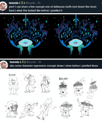 nochocolate:Temmie Chang shared a few concept arts from the game: Ralsei's home and character expressions.: temmie)@tuyoki.2h  yee!! I can share a few concept arts of deltarune stuffs (not fanart this time)  here's what this looked like before i pixelled it   temmie (A) @tuyoki 2h  also some character expression concept draws i drew before i pixelled these   SUSIE °  0  RALSE  al  0 nochocolate:Temmie Chang shared a few concept arts from the game: Ralsei's home and character expressions.