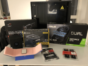 Very excited for my first build ever!: TEMPERED GLASS  Please handle with care  OFTVUANE  REPUBLIC OF  GAMERS  ASUS  AUTO-EXTREME  ROG STRIX  8450-F GAMIN  DUAL  Perfected Automated Manufacturing  CORSAIR  TX-M SERIES  MOTHERBOARD  ((((  GEFORCE  GTX  GDDR6  80  TX550M  Edition  DVIDIA  Memory  550 WATT  CORAIR  TX550M  TURING SHADERS/ GODRB/ DIRECTX 12 / ANSEL  AMD  1660 Ti  MODULAR ATX POWER SUPPLY I BLOC D'ALIMENTATION  LARES ATX+NETZTEIL  1HAIN DOLD T  100% SARANIMOs oEHAT  LeneR T miarnesicunTLOER  FEERTIFIEATION se PLUS GO  ALL APAHE O CAAITO  BCOnDNArEURS  UPERION VOLTA EATion An LOn TERM  AITY  IREDIA ATION  LANOFHISTION FUVERL e  SOLID-STATE DRIVE  35x ATER  250G8  mptons  LA E  FREE  FURY  FURY Very excited for my first build ever!