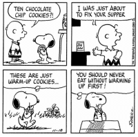 Cookies, Memes, and Chocolate: TEN CHOCOLATE  CHIP COOKIES?!  I WAS JUST ABOUT  TO FIX YOUR SUPPER  THESE ARE JUST  WARM-UP COOKIE5...  YOU SHOULD NEVER  EAT WITHOUT WARMING  UP FIRST! Happy National Chocolate Chip Cookie Day! 🍪 This strip was published on November 18, 1983.