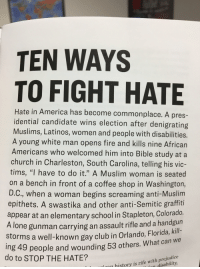 "America, Apparently, and Church: TEN WAYS  TO FIGHT HATE  Hate in America has become commonplace. A pres-  idential candidate wins election after denigrating  Muslims, Latinos, women and people with disabilities.  A young white man opens fire and kills nine African  Americans who welcomed him into Bible study at a  church in Charleston, South Carolina, telling his vic-  tims, ""I have to do it."" A Muslim woman is seated  on a bench in front of a coffee shop in Washington,  D.C., when a woman begins screaming anti-Muslim  epithets. A swastika and other anti-Semitic graffiti  appear at an elementary school in Stapleton, Colorado.  A lone gunman carrying an assault rifle and a handgun  kil  storms a well-known gay club in Orlando, Florida,  ing 49 people and wounding 53 others. What can we  do to STOP THE HATE?  history is rife with prejudice  n disability"